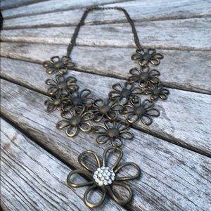 Brass w rhinestone bottom flower floral necklace